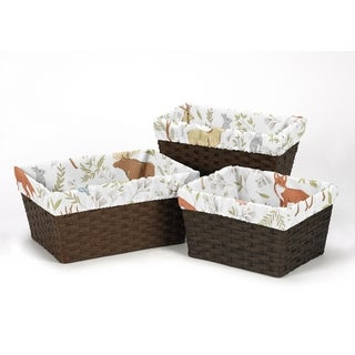 Sweet Jojo Designs Basket Liners for the Woodland Toile Collection (Set of 3)