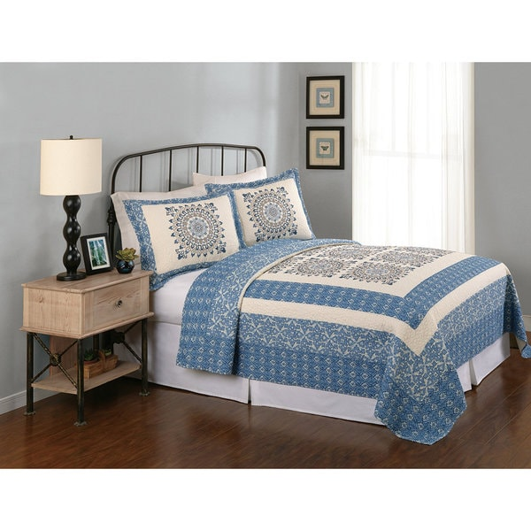 Peking Handicraft Asher Cotton Blue Quilt
