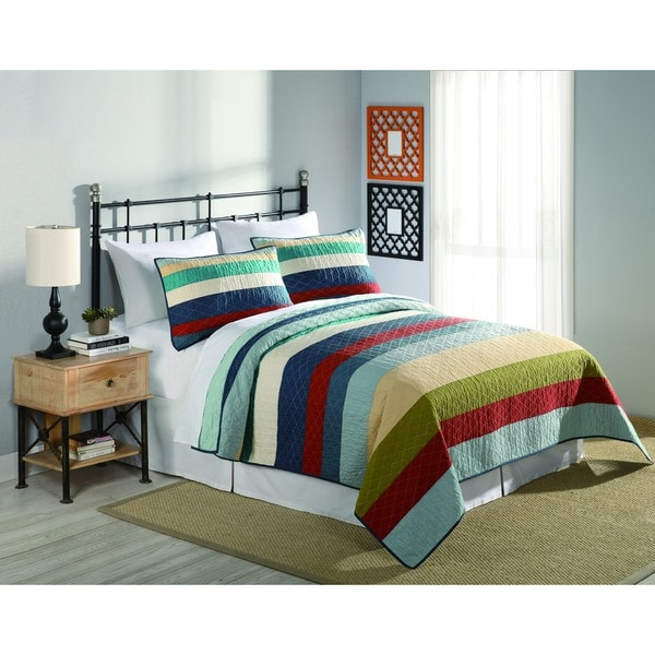 Peking Handicraft Horizon Multicolor Stripe 3-piece Quilt Set