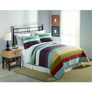 Peking Handicraft Horizon Multicolor Stripe 3-piece Quilt Set
