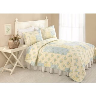 Peking Handicraft Gracie Floral Cotton Quilt (Shams sold seperately)