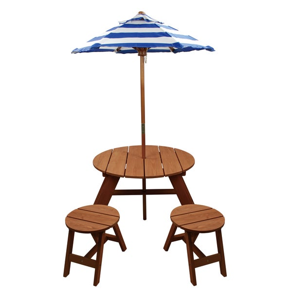 """Homeware Brown Wood Kids Round Umbrella Table and Stools 3-piece Set - 33""""Lx27""""Wx54""""H. Opens flyout."""