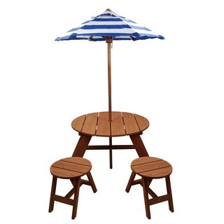 Homeware Brown Wood Kids Round Umbrella Table And Stools 3 Piece Set