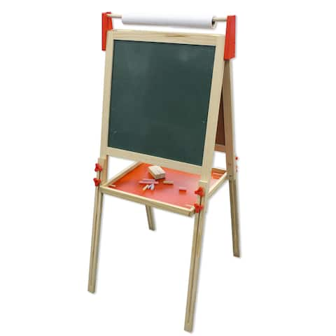 Kids Wood Double-sided Chalkboard and Dry-Erase Board Floor Easel