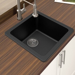"Winpro Black Granite Quartz 16.644x 16.644""x 8 Single Bowl Dual Mount Bar Sink"