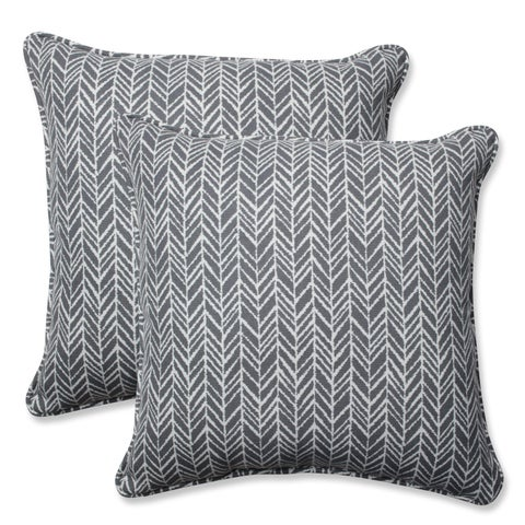 Pillow Perfect Outdoor/ Indoor Herringbone Slate 18.5-inch Throw Pillow (Set of 2)