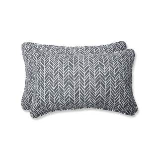 Pillow Perfect Outdoor/ Indoor Herringbone Slate Rectangular Throw Pillow (Set of 2)
