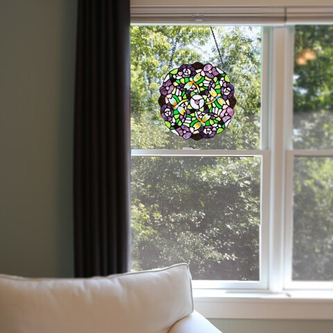 River of Goods Purple Pansy Tiffany Style Stained Glass Window Panel