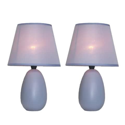Simple Designs Purple Mini Egg Oval Ceramic Table Lamp (Set of 2)