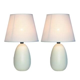 Simple Designs Off-white Mini Egg Oval Ceramic Table Lamp (Set of 2)
