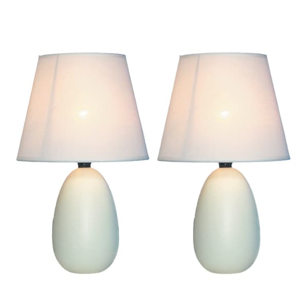 Simple Designs Off-white Mini Egg Oval Ceramic Table Lamp (Set of 2)