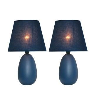 Simple Designs Blue Ceramic Mini Egg Oval Table Lamp (Set of 2)