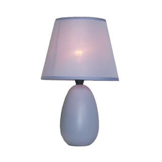 Simple Designs Mini Egg Purple Ceramic Oval Table Lamp