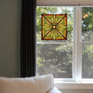 River of Goods Craftsman-style Forest Colors Stained Glass 18-inch H Square Window Panel