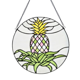 River of Goods Blooming Pineapple Stained Glass 16-inch H Window Panel
