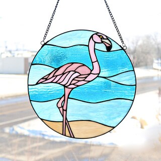 River of Goods Stained Glass 16-inch Fabulous Flamingo Window Panel