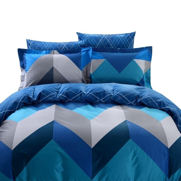 Dolce Mela Mykonos 6-piece Cotton Duvet Cover Bedding Set with Fitted Sheet