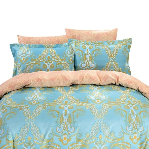 Dolce Mela Athens 6-piece Cotton Duvet Cover Bedding Set with Fitted Sheet