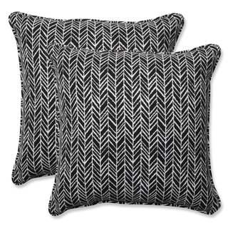 Pillow Perfect Outdoor/ Indoor Herringbone Night 18.5-inch Throw Pillow (Set of 2)