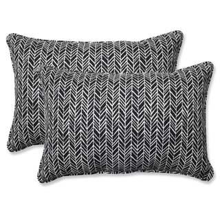 Pillow Perfect Outdoor/ Indoor Herringbone Night Rectangular Throw Pillow (Set of 2)