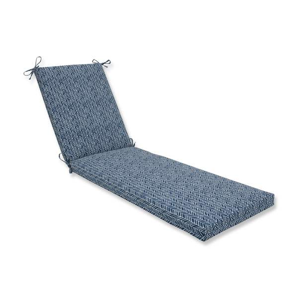 Pillow Perfect Outdoor Indoor Herringbone Ink Blue Chaise Lounge Cushion