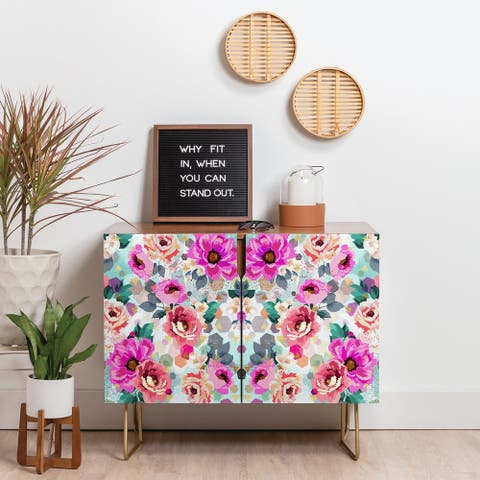 Deny Designs Geometrical Flowers Credenza (Birch or Walnut, 3 Leg Options)