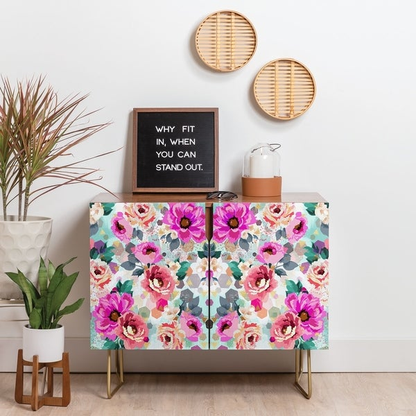 Deny Designs Geometrical Flowers Credenza (Birch or Walnut, 3 Leg Options). Opens flyout.