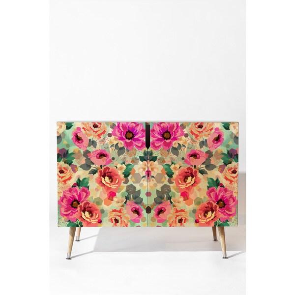 Deny Designs Marta Barragan Camarasa Multicolored Birch Abstract Geometrical Flowers Credenza