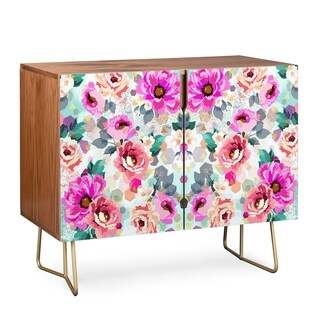 Deny Designs Geometrical Flowers Wood Credenza (3 Leg Options)