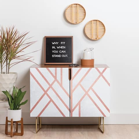 Deny Designs Pink and White Geometric Credenza (Birch or Walnut, 3 Leg Options)