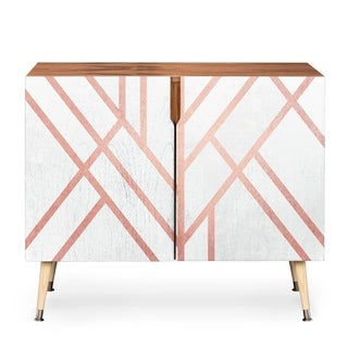 Deny Designs Pink and White Geometric Wood Credenza (3 Leg Options)