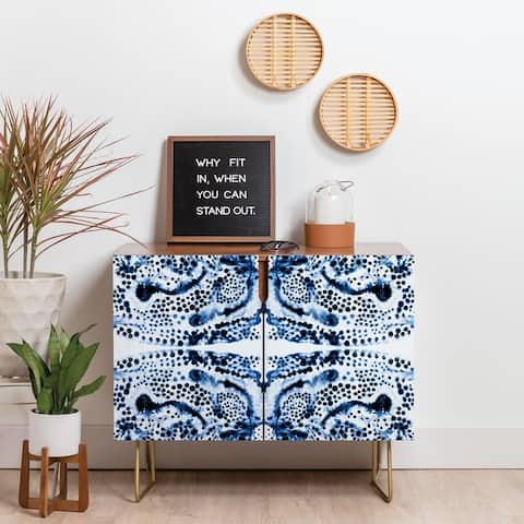 Deny Designs Symmetric Blue Swirl Credenza (Birch or Walnut, 3 Leg Options)