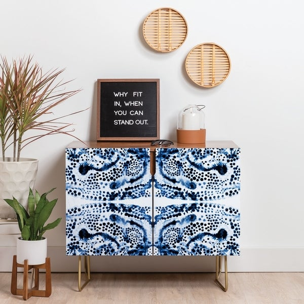 Deny Designs Symmetric Blue Swirl Credenza (Birch or Walnut, 3 Leg Options). Opens flyout.