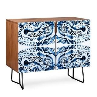 Deny Designs  Symmetric Blue Swirl Credenza (Birch or Walnut, 3 Leg Options) (Black Legs - Walnut Finish)