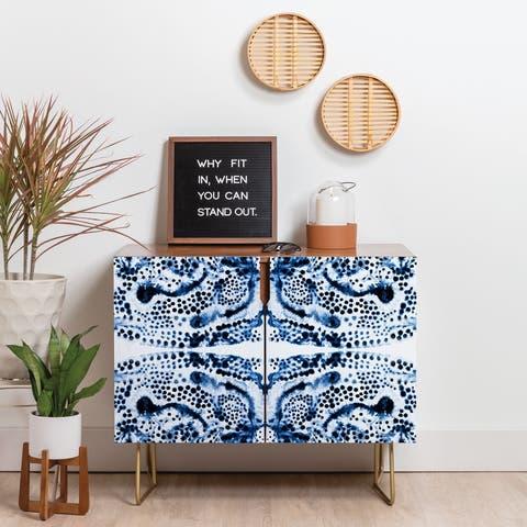 Deny Designs Symmetric Blue Swirl Credenza (Birch or Walnut, 3 Leg Options)