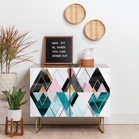 Deny Designs Geometric Triangles Credenza (Birch or Walnut, 3 Leg Options)