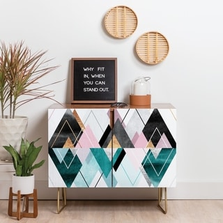 Link to Deny Designs Geometric Triangles Credenza (Birch or Walnut, 3 Leg Options) Similar Items in Dining Room & Bar Furniture