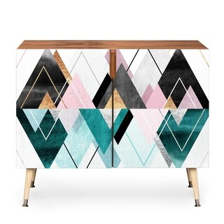 Deny Designs Geometric Triangles Wood Credenza (3 Leg Options)