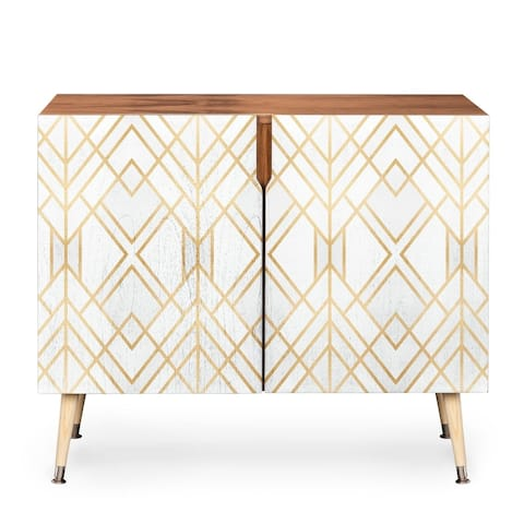 Deny Designs White Geometric Credenza (Birch or Walnut, 3 Leg Options)