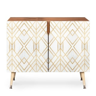 Link to Deny Designs White Geometric Credenza (Birch or Walnut, 3 Leg Options) Similar Items in Living Room Furniture