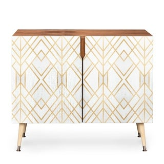 Deny Designs White Geometric Wood Credenza