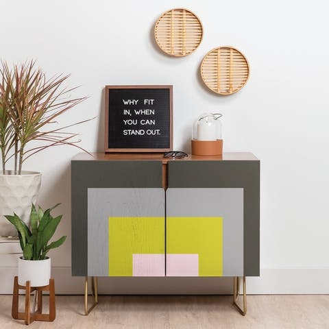 Deny Designs Multicolored Squares Credenza (Birch or Walnut, 3-Leg Options)