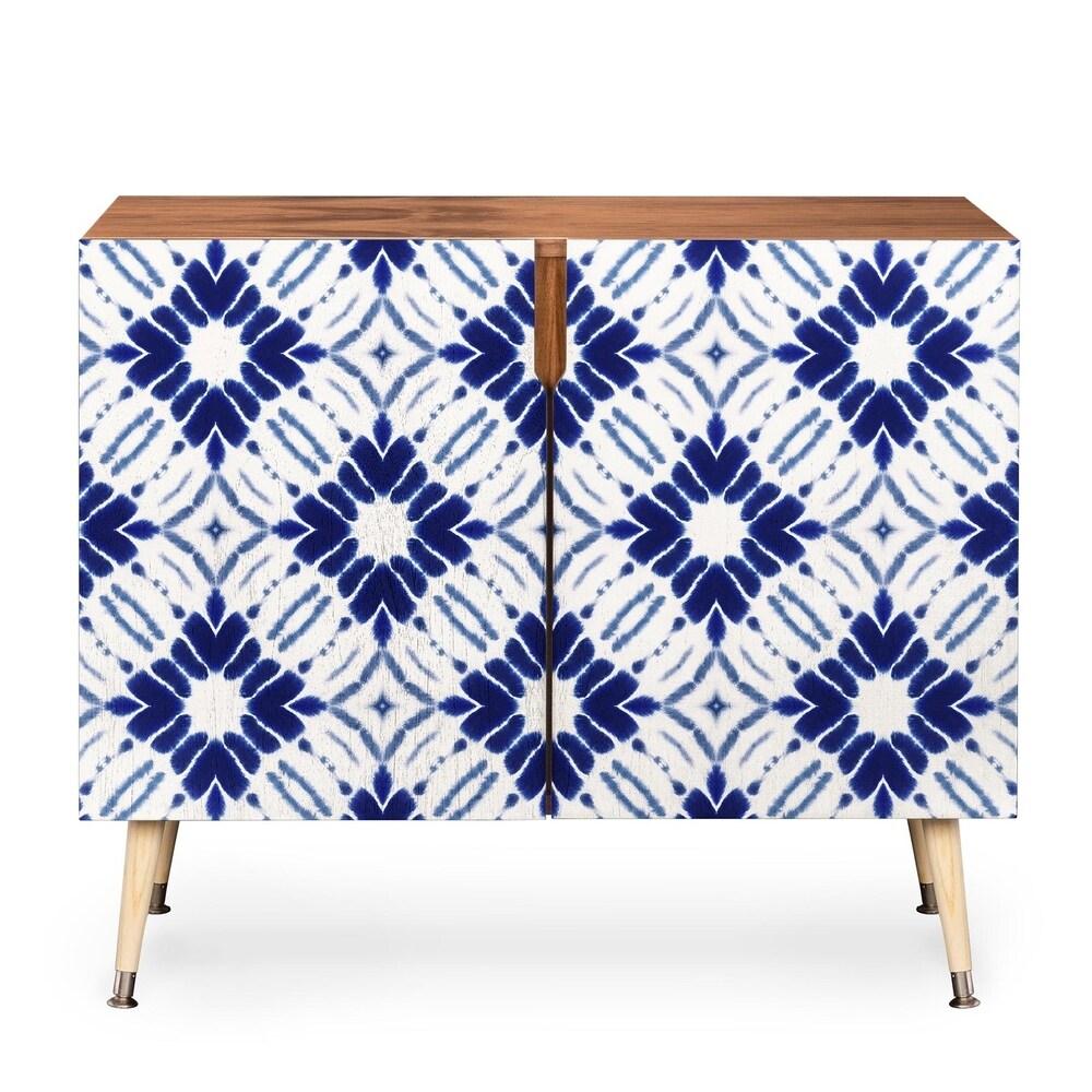 DENY Designs Jacqueline Maldonado Watercolor Shibori Blue Wood Credenza (Blue)