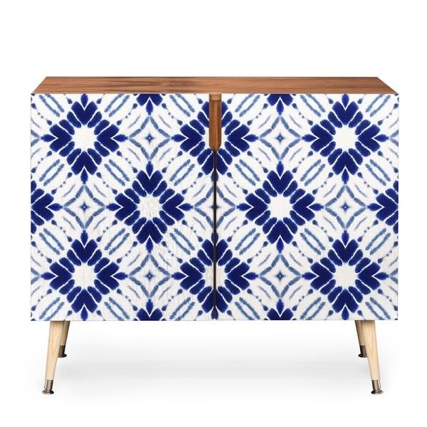 Jacqueline Maldonado Watercolor Shibori Blue Wood Credenza
