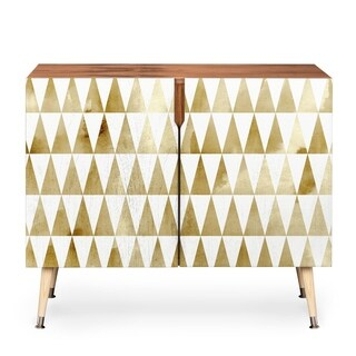 Georgiana Paraschiv Triangle Pattern Gold Wood Credenza