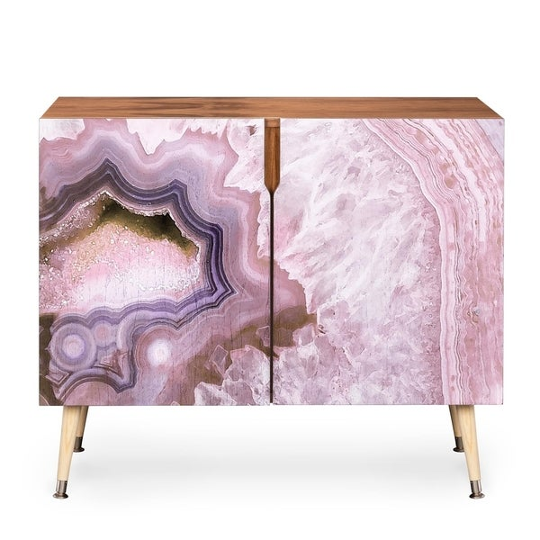 Deny Designs Pale Pink Agate Wood Credenza (3 Leg Options)