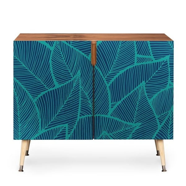 Deny Designs Arcturus Blue Green Leaves Credenza