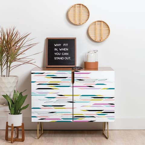 Deny Designs Multi Colored Geometric Shapes Credenza (Birch or Walnut, 3 Leg Options)