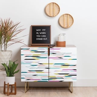 Link to Deny Designs Multi Colored Geometric Shapes Credenza (Birch or Walnut, 3 Leg Options) Similar Items in Dining Room & Bar Furniture