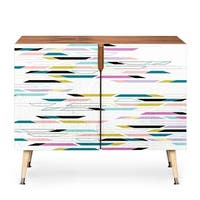 Deny Designs Multi Colored Geometric Shapes Wood Credenza